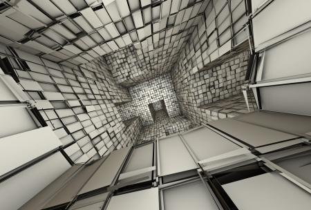 3d futuristic fragmented tiled mosaic labyrinth interior  photo
