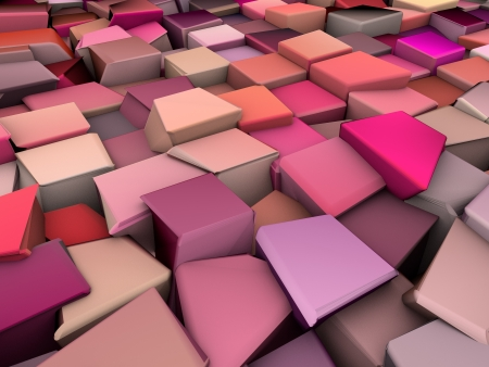 ranked: 3d abstract pink chaotic ranked shape Stock Photo