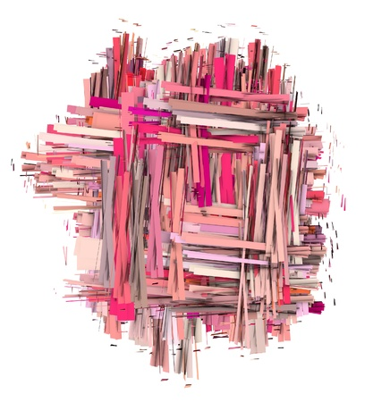 3d abstract shape in varied pink and red shape photo