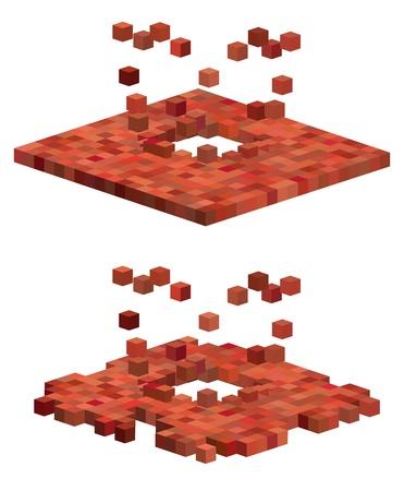 3d cube exploding floor pattern in red orange Stock Vector - 16255834