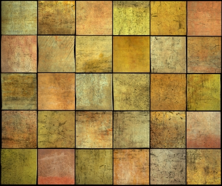 abstract backdrop square tile grunge pattern in orange,yellow and pink photo