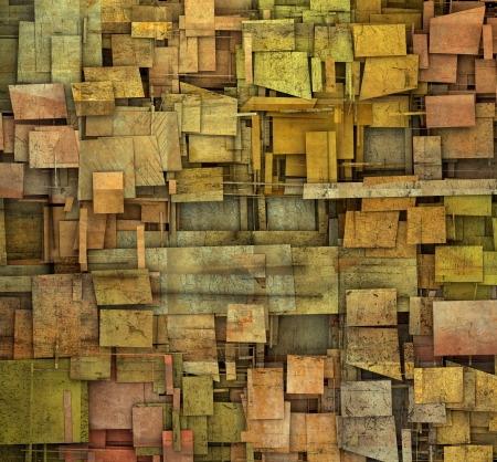 fragmented orange,pink and yellow square tile grunge pattern backdrop photo