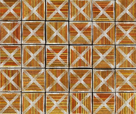 3d cross abstract striped tile backdrop in orange brown Stock Photo - 17438951