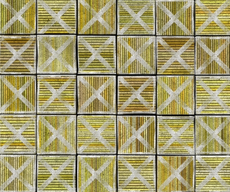 3d cross abstract striped tile backdrop in yellow green Stock Photo - 17438948