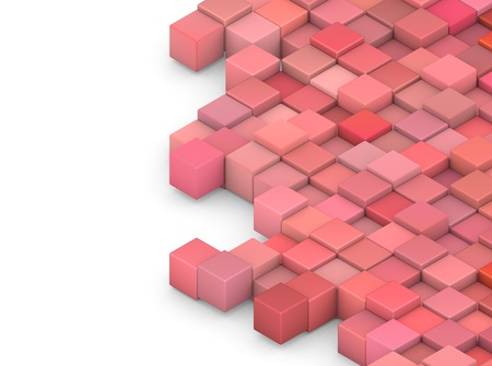 abstract 3d shape backdrop in pink red on white  photo
