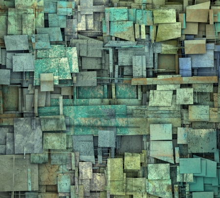 fragmented: fragmented blue green square tile grunge pattern backdrop
