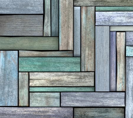 abstract 3d render blue green wood timber plank backdrop  photo