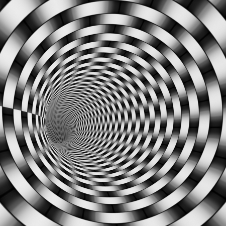 3d render tiled tunnel in gradient black and white