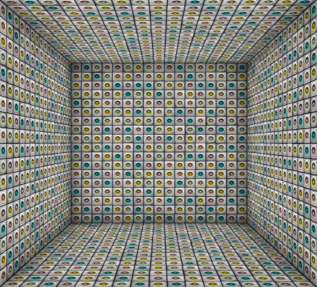 3d sound - system mosaic grunge square tiled empty space photo