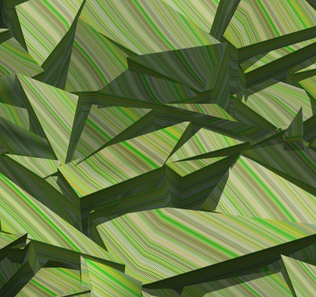 fragmentation: 3d fragmented stripe pattern  green backdrop