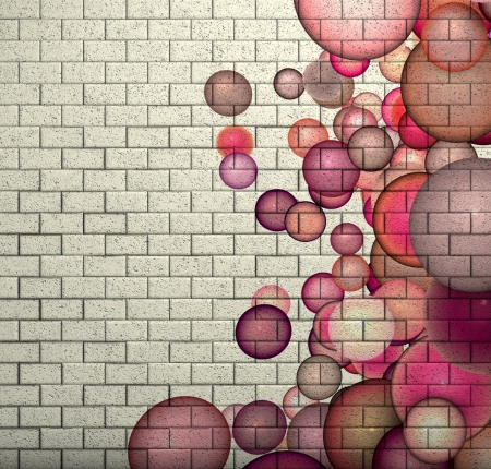 3d mosaic tile brick wall with pink bubble pattern photo