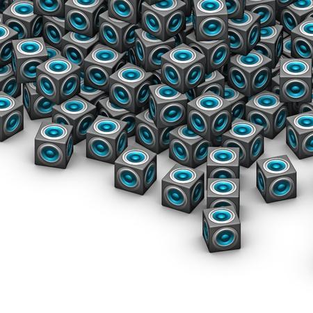 sono: cube syst�me de son woofer bleu sur blanc