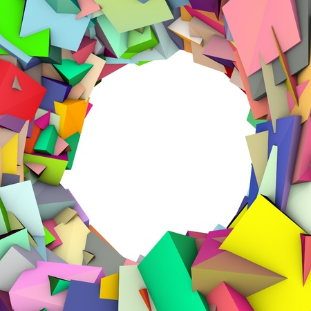 fragmentation: circular abstract rainbow color spiked shape on white  Stock Photo