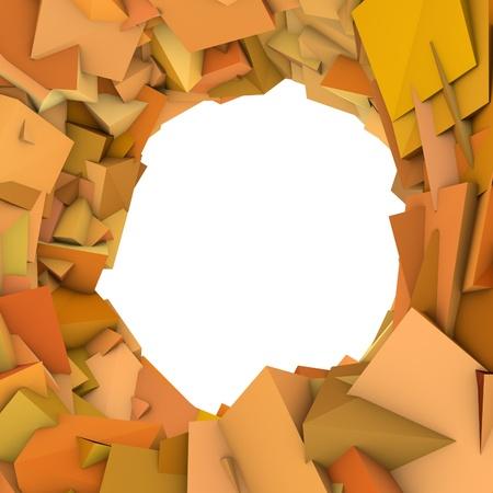 fragmentation: circular abstract orange spiked shape on white