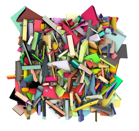 fragmentation: 3d abstract fragmented pattern in rainbow color backdrop  Stock Photo