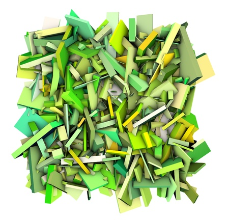 fragmented: 3d abstract fragmented shapes green yellow