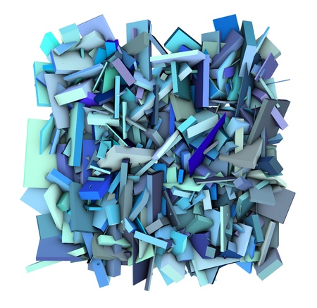 fragmented: 3d abstract shape fragmented blue Stock Photo