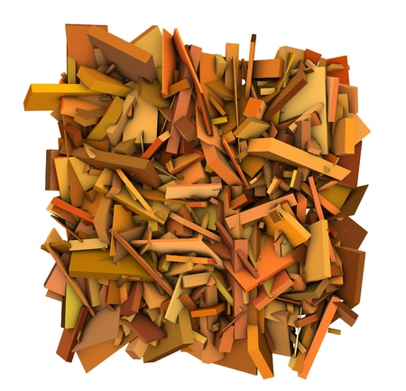 fragmented: 3d orange abstract fragmented orange backdrop