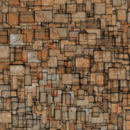 fragmented: grunge mosaic tile fragmented backdrop in orange