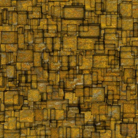 fragmented: grunge mosaic tile fragmented backdrop in yellow Stock Photo
