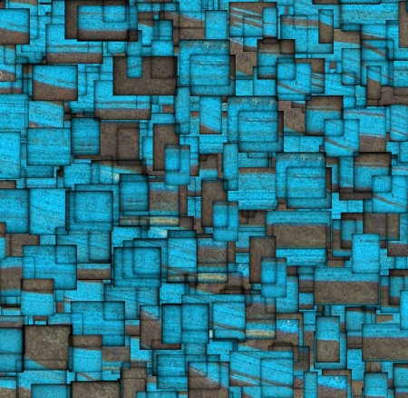 fragmented: grunge mosaic tile fragmented backdrop in blue Stock Photo
