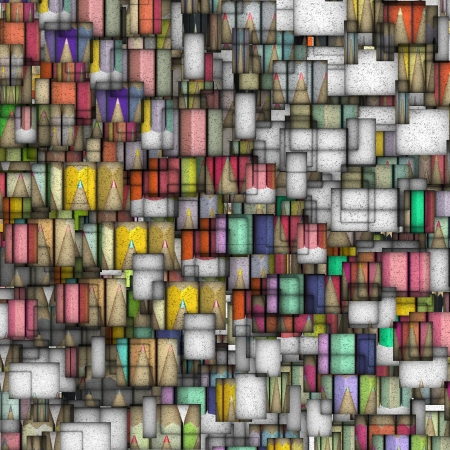 fragmented: mosaic tile colored pencil backdrop fragmented  Stock Photo