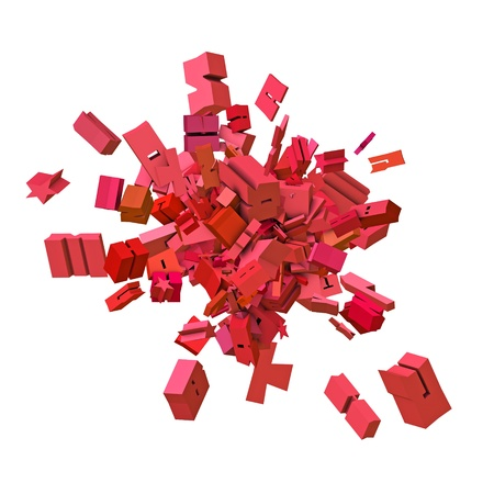 alfabet: block alphabet font exploded in pink red