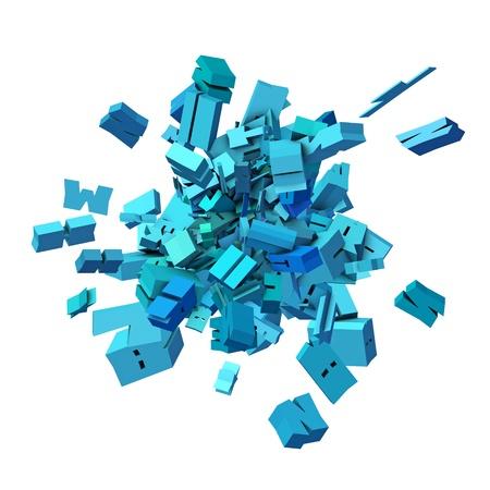 alfabet: block alphabet font exploded in blue