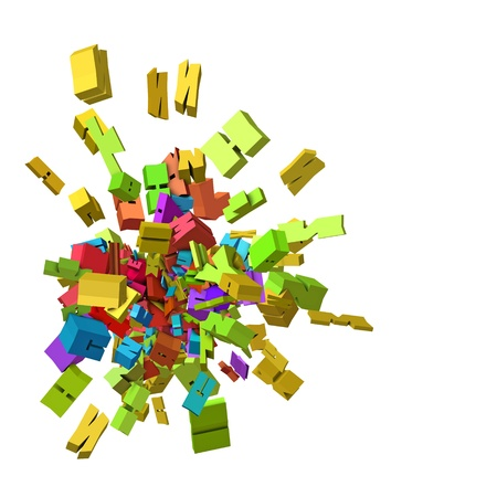 alfabet: block alphabet font exploded in rainbow color Stock Photo