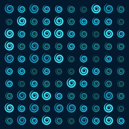 3d glossy blue Ionic swirl curl pattern Imagens