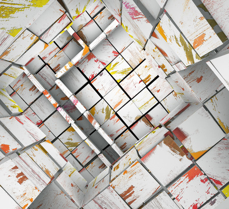 3d fragmented tiled white paint mosaic labyrinth  photo
