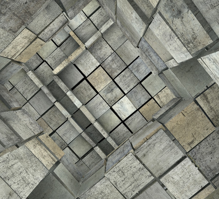 3d fragmented tiled mosaic labyrinth in multiple gray photo