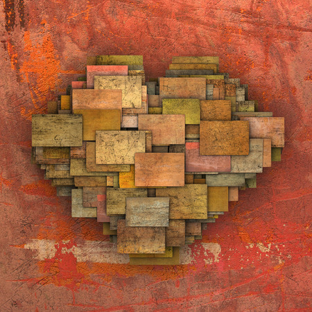 fragmented: 3d fragmented love heart shape square tile grunge pattern