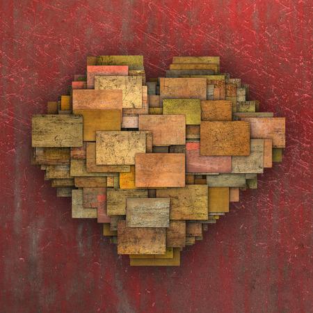 3d fragmented love heart shape square tile grunge pattern  photo