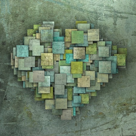 corny: 3d fragmented green heart shape square tile grunge pattern  Stock Photo
