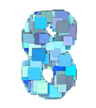 fragmented: 3d multiple blue tiled number eight 8 fragmented on white