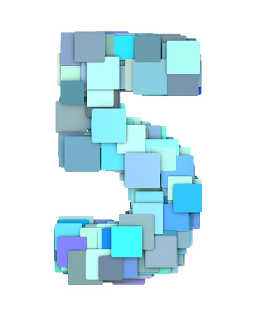 fragmented: 3d multiple blue tiled number five 5 fragmented on white