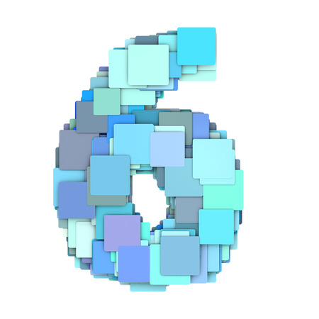 fragmented: 3d multiple blue tiled number four 4 fragmented on white