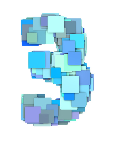 fragmented: 3d multiple blue tiled number three 3 fragmented on white