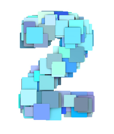 fragmented: 3d multiple blue tiled number two 2 fragmented on white Stock Photo