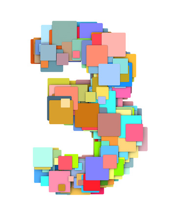 fragmented: 3d number three3 fragmented tiled on white in multiple color