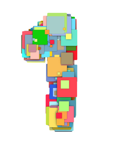 varied: 3d number one 1 fragmented tiled on white in multiple color