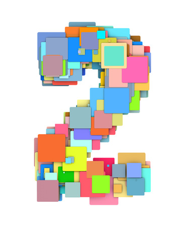 fragmented: 3d number two 2 fragmented tiled on white in multiple color
