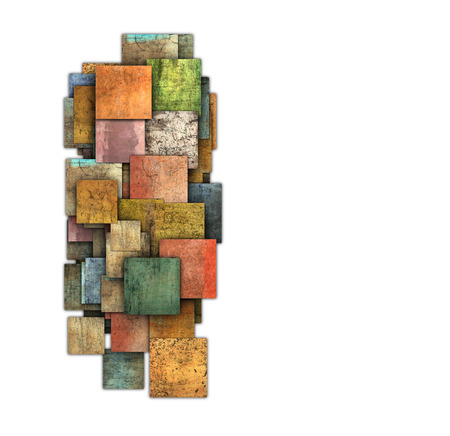 fragmented: fragmented multiple color square tile grunge pattern shape