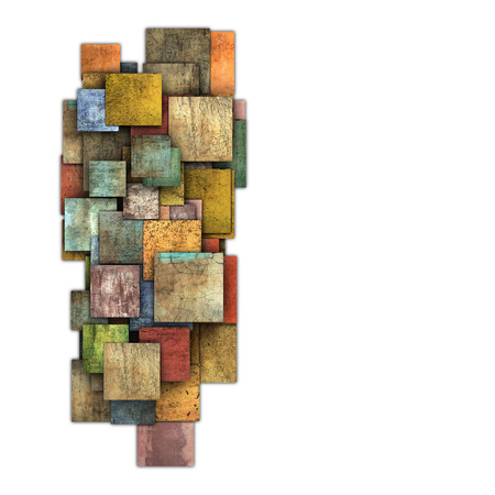 fragmented multiple color square tile grunge pattern shape  photo