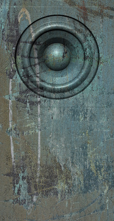soundsystem: 3d render grunge blue old speaker sound system Stock Photo