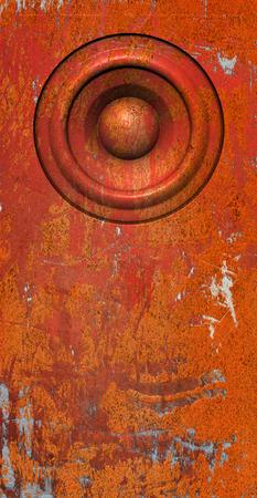 soundsystem: 3d render grunge orange old speaker sound system