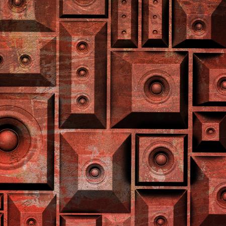 soundsystem: 3d composition grunge old speaker sound system Stock Photo
