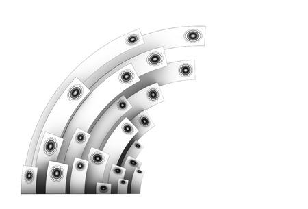 soundsystem: 3d speaker sound system in silver over white Stock Photo