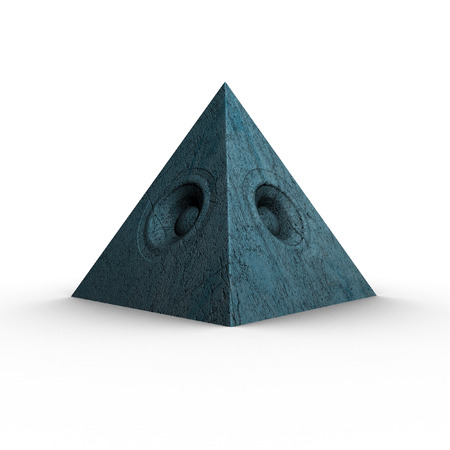 soundsystem: 3d blue pyramid grunge old speaker sound system